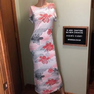 Rare Free People Maxi Dress Floral & Ombre Stripes